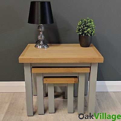 Grey Painted Nest Of Tables Oak / Solid Wood / Grey End Table / Greymore