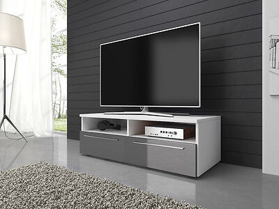 TV Unit Cabinet Stand Vannes 100 cm Body Mat White / Fronts High Gloss