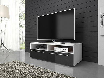 TV Unit Cabinet Stand Vannes 100 cm Body Mat White / Fronts High Gloss Black