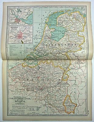 Original 1897 Map of The Netherlands Belgium & Luxemburg by The Century Company