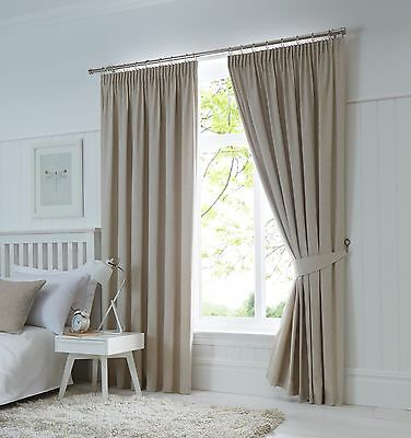 Fusion Dijon Natural Luxury Thermal / Blackout Pencil Pleat Fully Lined Curtains