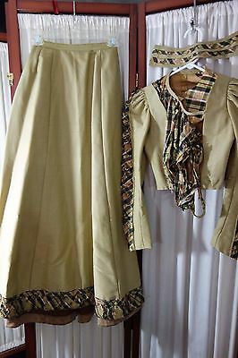 1890's Beige Silk Suit- Small- Bodice Jacket & Skirt w/Train- SALE PRICE