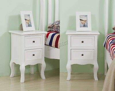 FoxHunter 1 Pair Vintage Bedside Cabinet Table 2 Drawers Storage BCU12 White