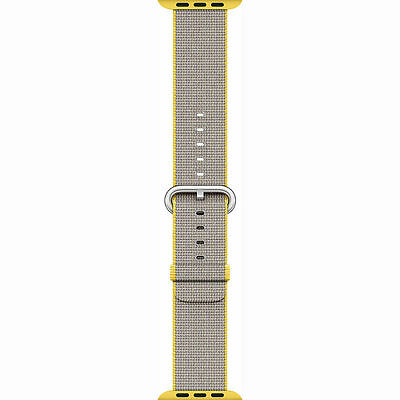 Genuine Apple Watch Woven Nylon Band 38mm Yellow/Light Gray MNK72AM/A New Other!