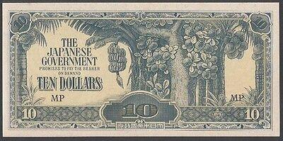 1942 Wwii Malaysia / Japanese 10 Dollar Note (P-M7A) Jim Japanese Invasion Money