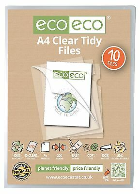 A4 STRONG OPEN TOP & SIDE COVER REPORT FILES CUT FLUSH TIDY FOLDER CLEAR ecoeco