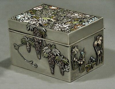 Japanese Sterling & Enamel Box           Meiji