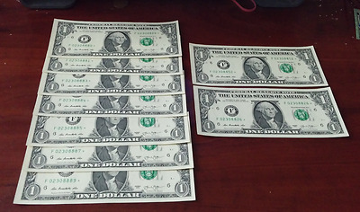 uncirculated 2013 One-Dollar-Bill STAR NOTE (lot of 9)