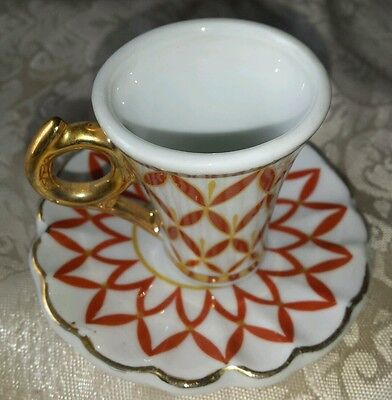 Vtg Mid Century Ceramic Porcelain China Small Mini Miniature Tea Cup & Saucer