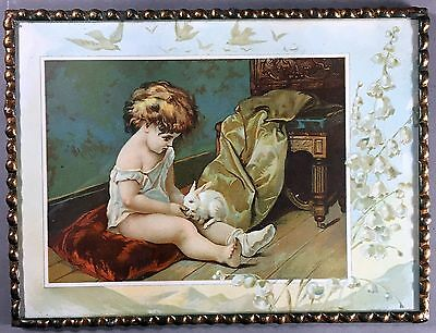 Antique chromolithograph Child & Rabbit,LION COFFEE, TOLEDO, OHIO, metal frame