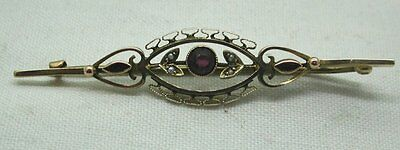 Lovely Antique 9ct Gold Amethyst Coloured Stone And Seed Pearl Brooch