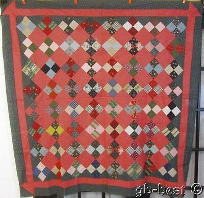 Farm House c 1890s Four Patch Antique QUILT Top CHURN Dash border