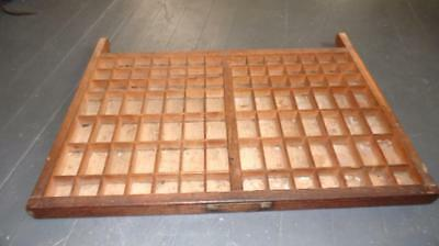 "Vintage Wooden Typeset Shadow Box Drawer Printing Block LetterPress Tray 26.5"" 2"