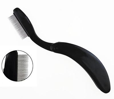 Professional Black Mini Folding Stainless Steel Teeth Eyelash Comb-- Portable Ey