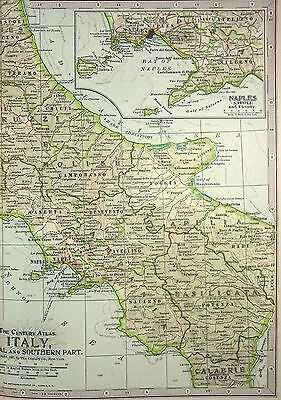 Original 1897 Map of Italy - Central & Southern Parts by The Century Company