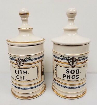 Two Vintage Early and Rare Porcelain Apothecary Jar- Xanthium Spinosum, 11 inche