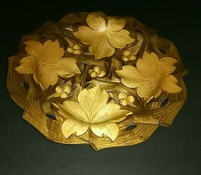 Tray Platter Plate Wood  Hand Carved Leaves & Berries