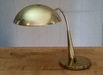 Sweet Vintage Mid Century Atomic Era Brass Articulating Saucer Table Desk Lamp