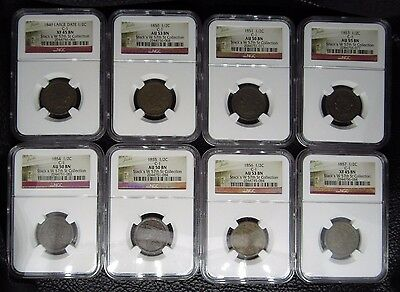 1849-1857 Braided Hair Half Cent 8 Coin Set C-1 Ngc Stack's W 57Th St Collection