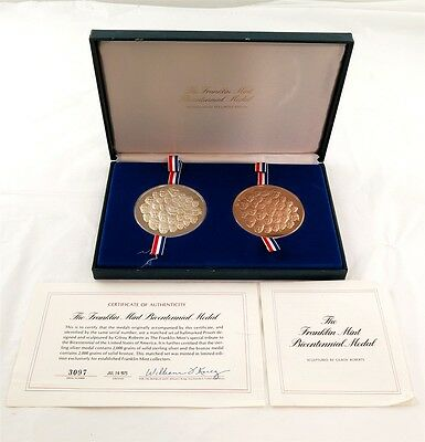 1976 Franklin Mint Sterling & Bronze Bicentennial Proof Medal Set