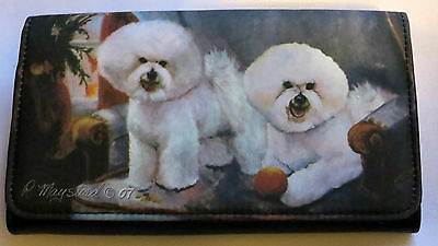 Bichon Frise Wallet Dogs Checkbook Black Back Slot New Puppy Blue White