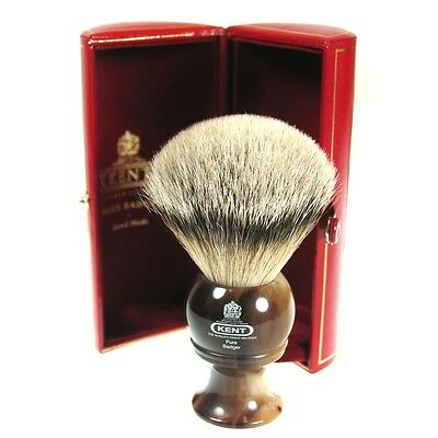 Kent H8 Shaving Brush Pure Badger Bristle Horn Handle Medium Size - GIFT BOXED