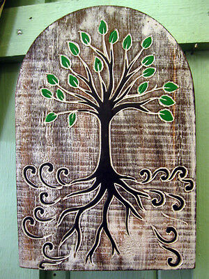CELTIC TREE OF LIFE WALL PLAQUE Hanging SIGN PAGAN Wiccan WOODEN Hand Carved