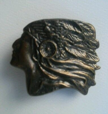 Vintage Brass or Bronze Indian Chief with Headress Belt Buckle