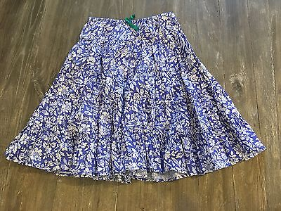 Mini Boden Girls Twirly Tiered Skirt BLUE and WHITE FLORAL sz 9 10y EUC