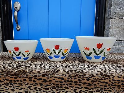 Vintage Fire King Tulip Nesting Mixing Bowls Set Of 3 Oven Ware Floral 50's 60's
