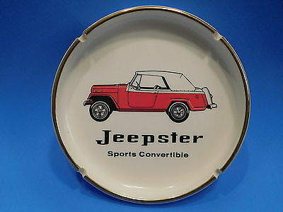 Vtg 1960s Jeep Jeepster Sports Convertible Advertising Ceramic Ashtray
