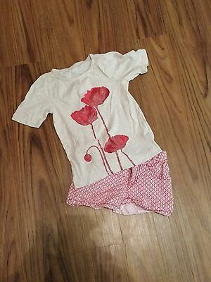 Crazy 8s shorts and t-shirt top with red poppies.  Girls size 5