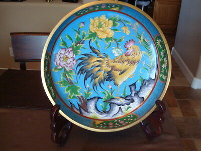 """Large 15"""" Chinese Cloisonne Bowl Rooster w/Stand Fine Quality"""