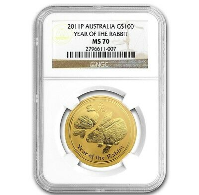 2011 P 1 oz Gold Lunar Year of The Rabbit Australia (Series-2) NGC MS70 - RARE