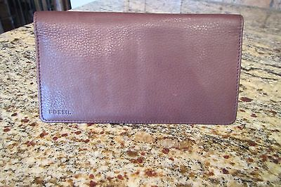 Men's Brown Leather FOSSIL Checkbook Cover ID Holder Wallet