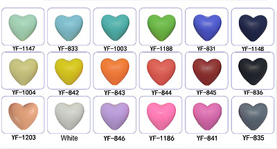 20Pcs Heart Silicone Teething Beads Nursing Breastfeeding Baby Teether Necklace