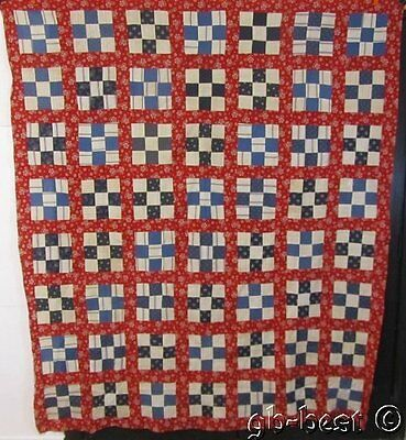 Patriotic c 1890s Nine Patch Antique QUILT Top Indigo Blue RED