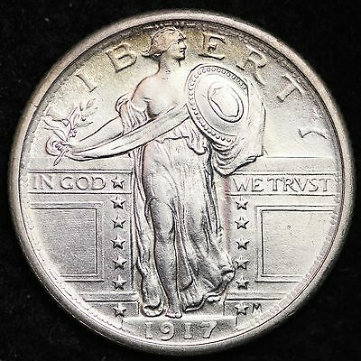 1917 TYPE 1 Standing Liberty Quarter CHOICE UNC FREE SHIPPING E263 CLT