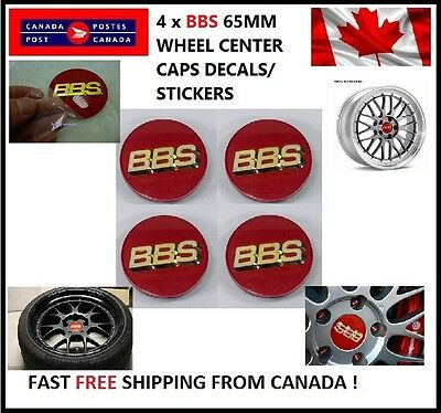 BBS Logo Car Wheel Center Hub Sticker Wheel Badge Decals RED Golden 65mm