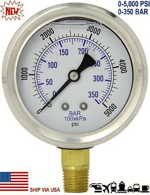 "New 2-1/2"" Hydraulic Liquid Filled Pressure Test Gauge 0 - 5000 PSI Lower Mount"