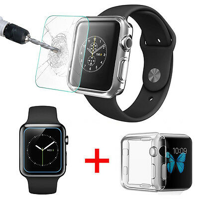 Tempered Glass Screen Protector + Clear TPU Case for Apple Watch Series 1, 42mm
