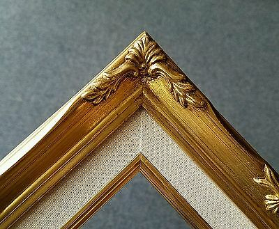 """2.25"""" Classic Gold Leaf Ornate Art Picture Frame with Linen Liner 5""""x7"""" B8G"""