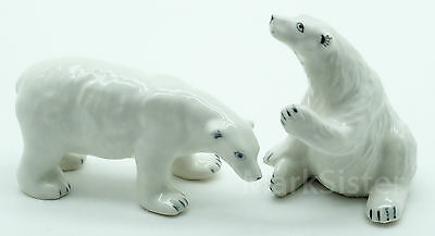 Figurine Animal Ceramic Statue 2 White Polar Bear - CWB012