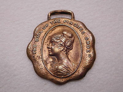 Antique Vtg Pingree Shoe Girl Watch Fob Advertising Detroit Company