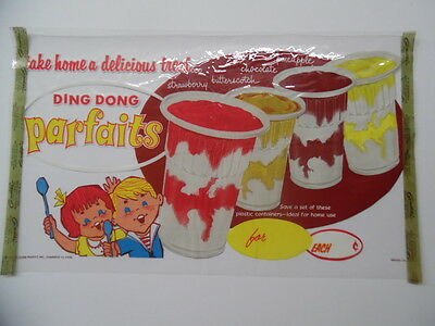 c.1960 DING DONG PARFAIT Drive-In Ice Cream Window Decal Sign Vintage Goodstix