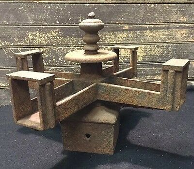 Antique Ornate Vtg Cast Iron Rotating Clothes Dryer Carousel Fence Post Topper