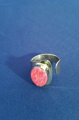 925 Sterling Silver Taxco Mexico Pink Opal Adjustable Ring