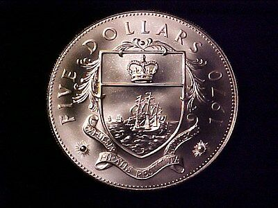 Bahamas $5 Dollars Huge Sterling Silver Coin 1970 Gem Bu Matte Finish 1.25 Ozs