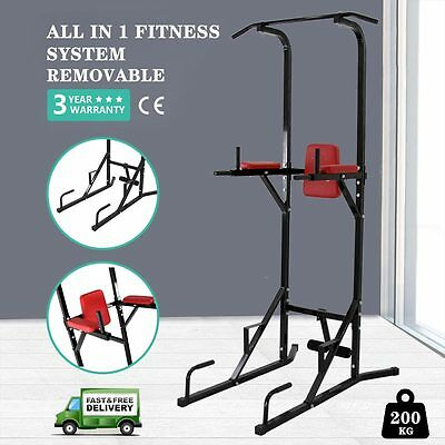 Fitness Power Tower Dip Station Pull Up Bar Push Sit Up Home Multi Gyms Fitness