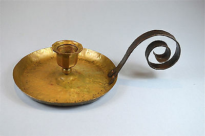 Original antique Arts & Crafts brass and wrought iron chamber stick candlestick